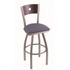 "830 Voltaire 30"" Bar Stool with Stainless Finish, Rein Bay Seat, Dark Cherry Maple Back, and 360 swivel"