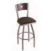 "830 Voltaire 36"" Bar Stool with Stainless Finish, Rein Coffee Seat, Dark Cherry Maple Back, and 360 swivel"