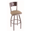 "830 Voltaire 30"" Bar Stool with Stainless Finish, Rein Thatch Seat, Dark Cherry Maple Back, and 360 swivel"