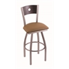 "830 Voltaire 36"" Bar Stool with Stainless Finish, Allante Beechwood Seat, Dark Cherry Oak Back, and 360 swivel"