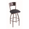 "830 Voltaire 36"" Bar Stool with Stainless Finish, Allante Dark Blue Seat, Dark Cherry Oak Back, and 360 swivel"