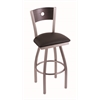 "830 Voltaire 36"" Bar Stool with Stainless Finish, Allante Espresso Seat, Dark Cherry Oak Back, and 360 swivel"