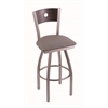 "830 Voltaire 30"" Bar Stool with Stainless Finish, Allante Dark Cherry Grey Seat, Dark Cherry Oak Back, and 360 swivel"