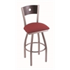 "830 Voltaire 25"" Counter Stool with Stainless Finish, Allante Wine Seat, Dark Cherry Oak Back, and 360 swivel"