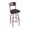 "830 Voltaire 30"" Bar Stool with Stainless Finish, Axis Denim Seat, Dark Cherry Oak Back, and 360 swivel"