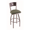 "830 Voltaire 36"" Bar Stool with Stainless Finish, Axis Grove Seat, Dark Cherry Oak Back, and 360 swivel"
