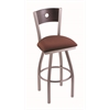 "830 Voltaire 36"" Bar Stool with Stainless Finish, Axis Paprika Seat, Dark Cherry Oak Back, and 360 swivel"