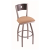 "830 Voltaire 30"" Bar Stool with Stainless Finish, Axis Summer Seat, Dark Cherry Oak Back, and 360 swivel"