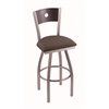 "830 Voltaire 30"" Bar Stool with Stainless Finish, Axis Truffle Seat, Dark Cherry Oak Back, and 360 swivel"