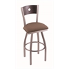 "830 Voltaire 30"" Bar Stool with Stainless Finish, Axis Willow Seat, Dark Cherry Oak Back, and 360 swivel"