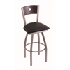 "830 Voltaire 30"" Bar Stool with Stainless Finish, Black Vinyl Seat, Dark Cherry Oak Back, and 360 swivel"