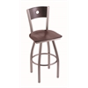 "830 Voltaire 30"" Bar Stool with Stainless Finish, Dark Cherry Oak Seat, Dark Cherry Oak Back, and 360 swivel"