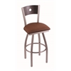 "830 Voltaire 36"" Bar Stool with Stainless Finish, Rein Adobe Seat, Dark Cherry Oak Back, and 360 swivel"