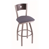 "830 Voltaire 25"" Counter Stool with Stainless Finish, Rein Bay Seat, Dark Cherry Oak Back, and 360 swivel"