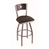 "830 Voltaire 25"" Counter Stool with Stainless Finish, Rein Coffee Seat, Dark Cherry Oak Back, and 360 swivel"