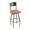 "830 Voltaire 30"" Bar Stool with Stainless Finish, Rein Thatch Seat, Dark Cherry Oak Back, and 360 swivel"