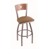 "830 Voltaire 36"" Bar Stool with Stainless Finish, Allante Beechwood Seat, Medium Maple Back, and 360 swivel"