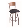 "830 Voltaire 36"" Bar Stool with Stainless Finish, Allante Dark Blue Seat, Medium Maple Back, and 360 swivel"