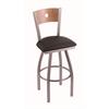 "830 Voltaire 25"" Counter Stool with Stainless Finish, Allante Espresso Seat, Medium Maple Back, and 360 swivel"