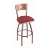 "830 Voltaire 30"" Bar Stool with Stainless Finish, Allante Wine Seat, Medium Maple Back, and 360 swivel"