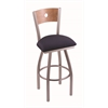 "830 Voltaire 30"" Bar Stool with Stainless Finish, Axis Denim Seat, Medium Maple Back, and 360 swivel"