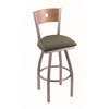 "830 Voltaire 30"" Bar Stool with Stainless Finish, Axis Grove Seat, Medium Maple Back, and 360 swivel"