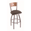 "830 Voltaire 30"" Bar Stool with Stainless Finish, Axis Truffle Seat, Medium Maple Back, and 360 swivel"