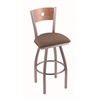 "830 Voltaire 36"" Bar Stool with Stainless Finish, Axis Willow Seat, Medium Maple Back, and 360 swivel"