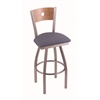 "830 Voltaire 30"" Bar Stool with Stainless Finish, Rein Bay Seat, Medium Maple Back, and 360 swivel"