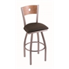"830 Voltaire 36"" Bar Stool with Stainless Finish, Rein Coffee Seat, Medium Maple Back, and 360 swivel"