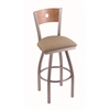 "830 Voltaire 30"" Bar Stool with Stainless Finish, Rein Thatch Seat, Medium Maple Back, and 360 swivel"