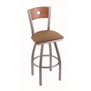 "830 Voltaire 36"" Bar Stool with Stainless Finish, Allante Beechwood Seat, Medium Oak Back, and 360 swivel"