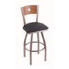 "830 Voltaire 36"" Bar Stool with Stainless Finish, Allante Dark Blue Seat, Medium Oak Back, and 360 swivel"