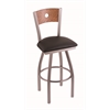 "830 Voltaire 30"" Bar Stool with Stainless Finish, Allante Espresso Seat, Medium Oak Back, and 360 swivel"