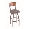 "830 Voltaire 30"" Bar Stool with Stainless Finish, Allante Medium Grey Seat, Medium Oak Back, and 360 swivel"