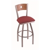 "830 Voltaire 25"" Counter Stool with Stainless Finish, Allante Wine Seat, Medium Oak Back, and 360 swivel"