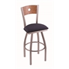 "830 Voltaire 30"" Bar Stool with Stainless Finish, Axis Denim Seat, Medium Oak Back, and 360 swivel"