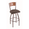 "830 Voltaire 36"" Bar Stool with Stainless Finish, Axis Truffle Seat, Medium Oak Back, and 360 swivel"