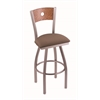 "830 Voltaire 30"" Bar Stool with Stainless Finish, Axis Willow Seat, Medium Oak Back, and 360 swivel"