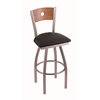 "830 Voltaire 25"" Counter Stool with Stainless Finish, Black Vinyl Seat, Medium Oak Back, and 360 swivel"