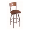 "830 Voltaire 30"" Bar Stool with Stainless Finish, Rein Adobe Seat, Medium Oak Back, and 360 swivel"