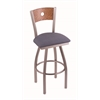 "830 Voltaire 30"" Bar Stool with Stainless Finish, Rein Bay Seat, Medium Oak Back, and 360 swivel"