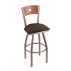 "830 Voltaire 30"" Bar Stool with Stainless Finish, Rein Coffee Seat, Medium Oak Back, and 360 swivel"