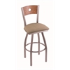 "830 Voltaire 30"" Bar Stool with Stainless Finish, Rein Thatch Seat, Medium Oak Back, and 360 swivel"