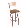 "830 Voltaire 36"" Bar Stool with Stainless Finish, Allante Beechwood Seat, Natural Maple Back, and 360 swivel"