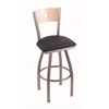 "830 Voltaire 30"" Bar Stool with Stainless Finish, Allante Dark Blue Seat, Natural Maple Back, and 360 swivel"