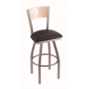 "830 Voltaire 30"" Bar Stool with Stainless Finish, Allante Espresso Seat, Natural Maple Back, and 360 swivel"