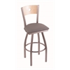 "830 Voltaire 30"" Bar Stool with Stainless Finish, Allante Medium Grey Seat, Natural Maple Back, and 360 swivel"