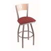 "830 Voltaire 30"" Bar Stool with Stainless Finish, Allante Wine Seat, Natural Maple Back, and 360 swivel"