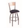 "830 Voltaire 30"" Bar Stool with Stainless Finish, Axis Denim Seat, Natural Maple Back, and 360 swivel"